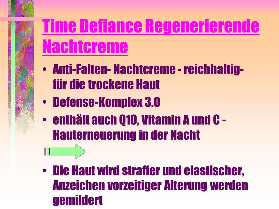 Time Defiance Regenerierende Nachtcreme Anti-Falten- Nachtcreme - reichhaltig- für die trockene Haut Defense-Komplex 3.0 enthält auch Q10, Vitamin A u