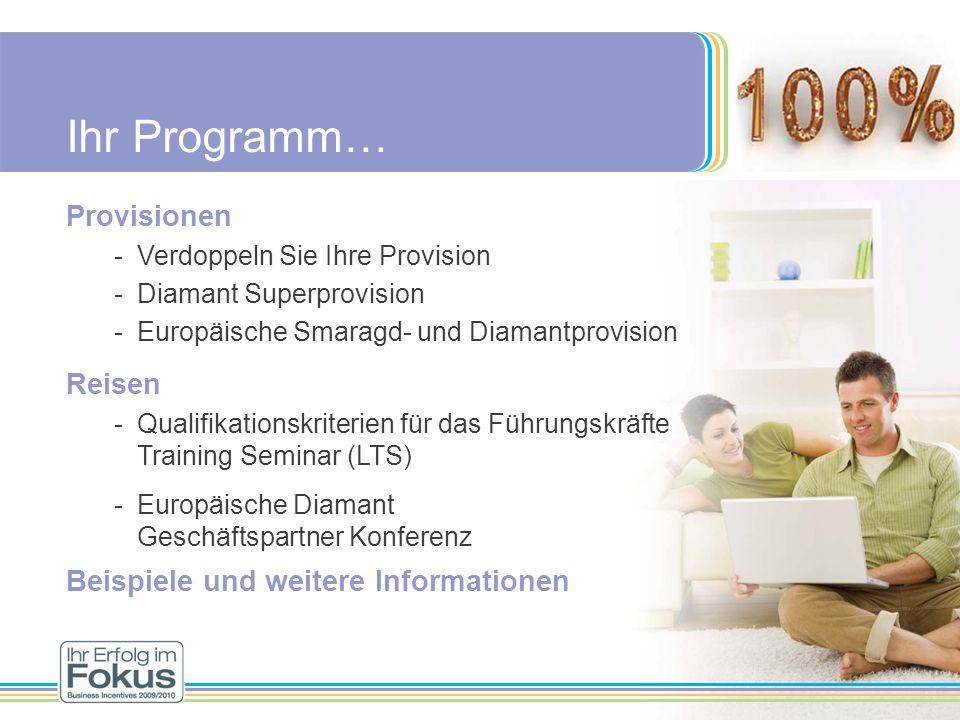 Ihr Programm… Provisionen -Verdoppeln Sie Ihre Provision -Diamant Superprovision -Europäische Smaragd- und Diamantprovision Reisen -Qualifikationskrit