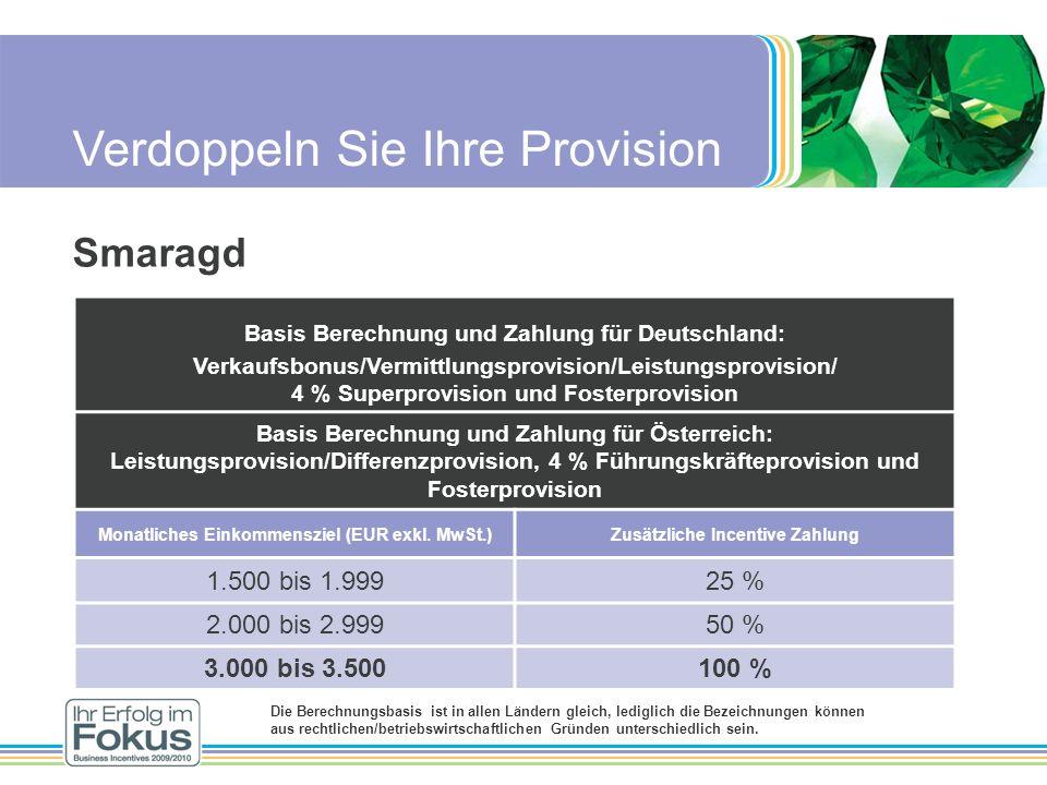Verdoppeln Sie Ihre Provision Smaragd Basis Berechnung und Zahlung für Deutschland: Verkaufsbonus/Vermittlungsprovision/Leistungsprovision/ 4 % Superp