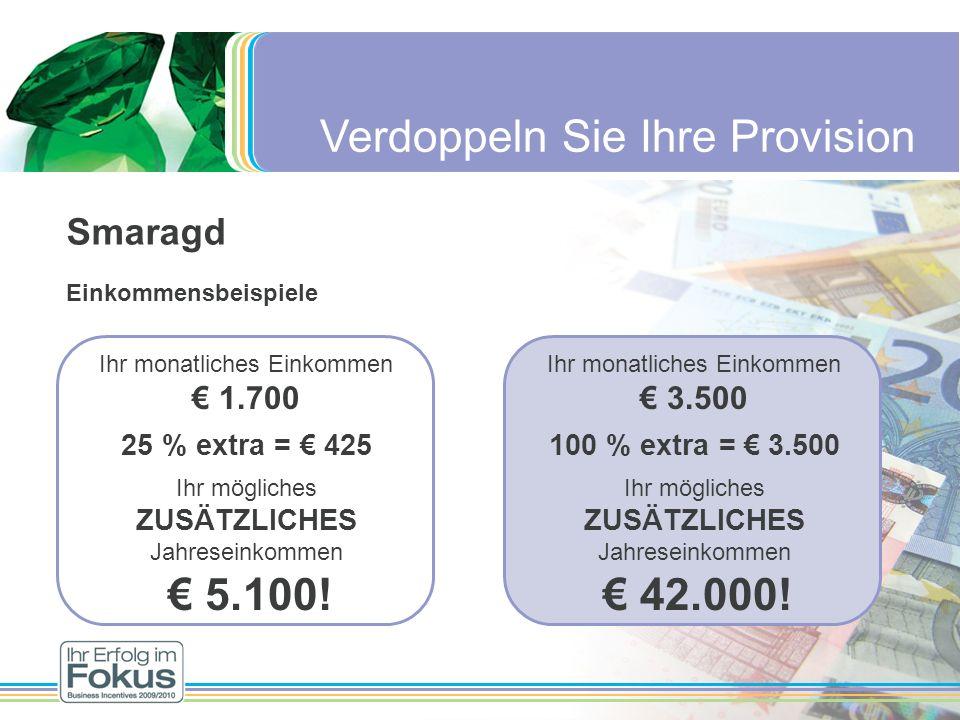 Verdoppeln Sie Ihre Provision Smaragd Einkommensbeispiele Ihr monatliches Einkommen 1.700 25 % extra = 425 Ihr mögliches ZUSÄTZLICHES Jahreseinkommen