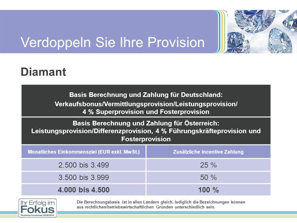 Verdoppeln Sie Ihre Provision Diamant Basis Berechnung und Zahlung für Deutschland: Verkaufsbonus/Vermittlungsprovision/Leistungsprovision/ 4 % Superp