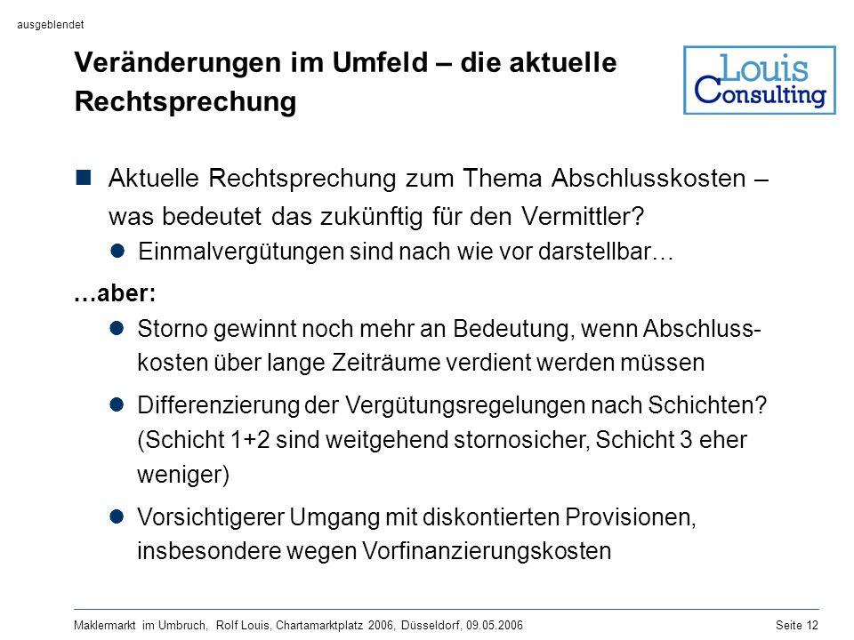 Maklermarkt im Umbruch, Rolf Louis, Chartamarktplatz 2006, Düsseldorf, 09.05.2006Seite 12 Veränderungen im Umfeld – die aktuelle Rechtsprechung Aktuel