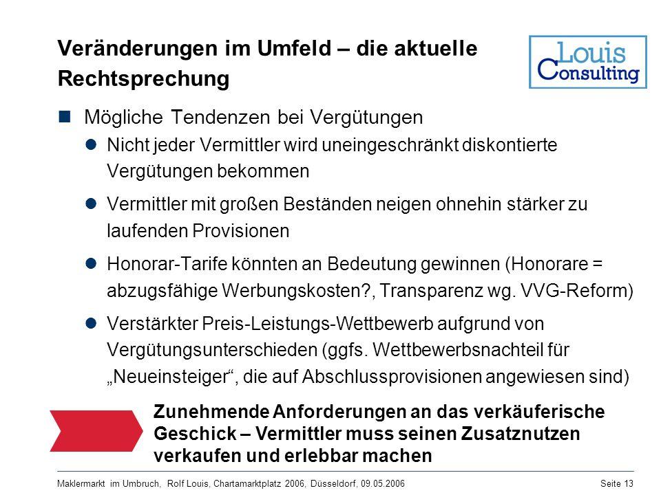 Maklermarkt im Umbruch, Rolf Louis, Chartamarktplatz 2006, Düsseldorf, 09.05.2006Seite 13 Veränderungen im Umfeld – die aktuelle Rechtsprechung Möglic