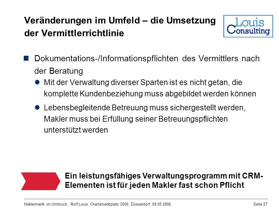 Maklermarkt im Umbruch, Rolf Louis, Chartamarktplatz 2006, Düsseldorf, 09.05.2006Seite 27 Veränderungen im Umfeld – die Umsetzung der Vermittlerrichtl