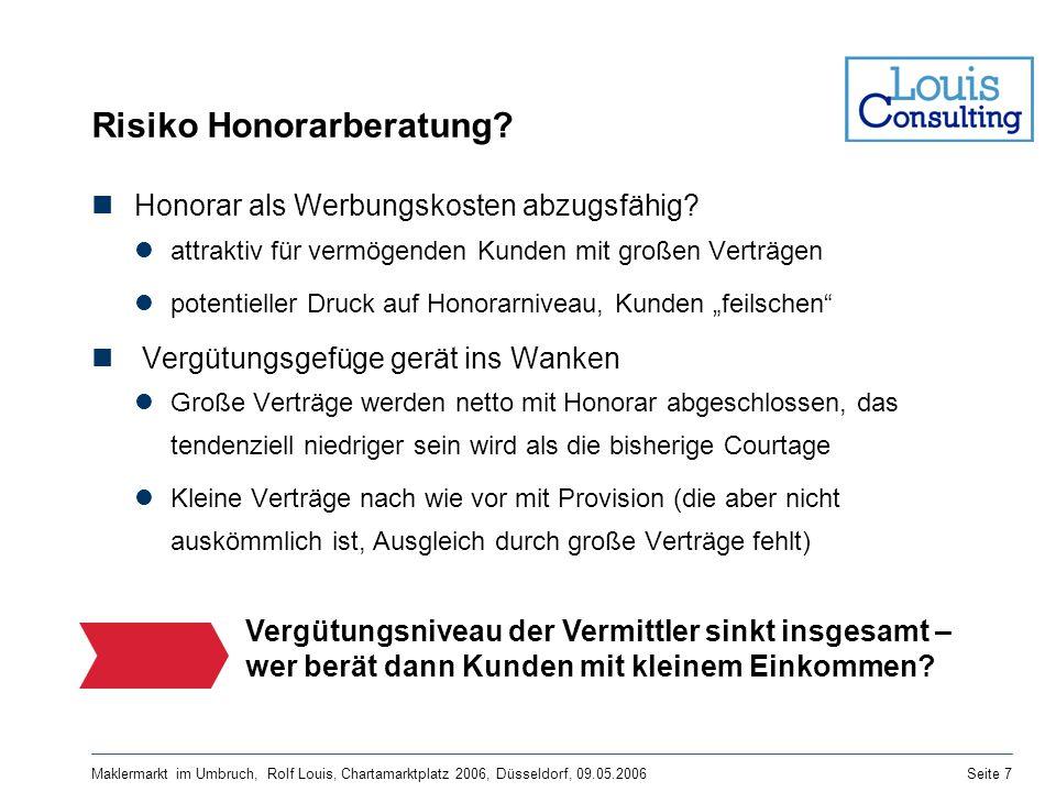 Maklermarkt im Umbruch, Rolf Louis, Chartamarktplatz 2006, Düsseldorf, 09.05.2006Seite 7 Risiko Honorarberatung? Honorar als Werbungskosten abzugsfähi