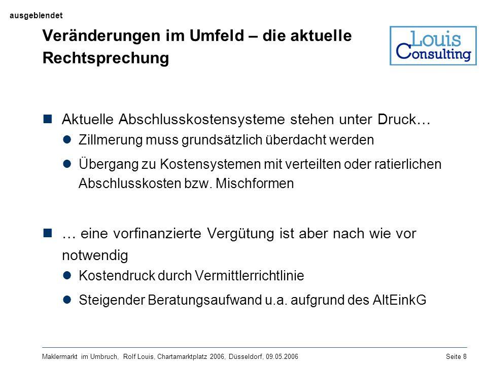 Maklermarkt im Umbruch, Rolf Louis, Chartamarktplatz 2006, Düsseldorf, 09.05.2006Seite 8 Veränderungen im Umfeld – die aktuelle Rechtsprechung Aktuell