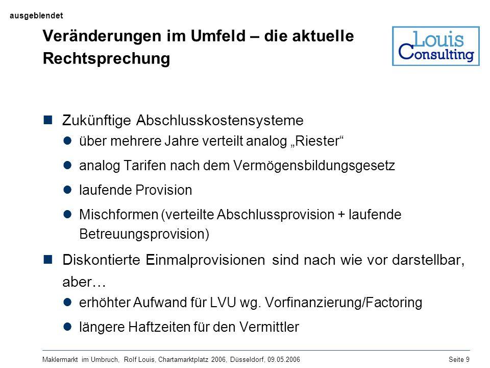 Maklermarkt im Umbruch, Rolf Louis, Chartamarktplatz 2006, Düsseldorf, 09.05.2006Seite 9 Veränderungen im Umfeld – die aktuelle Rechtsprechung Zukünft