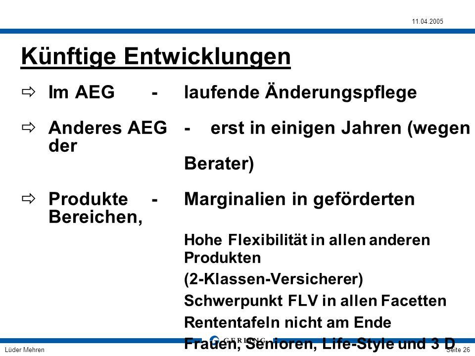 Lüder Mehren 11.04.2005 Seite 26 Künftige Entwicklungen Im AEG- laufende Änderungspflege Anderes AEG- erst in einigen Jahren (wegen der Berater) Produ