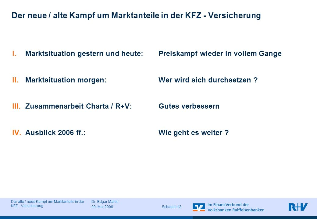 Der alte / neue Kampf um Marktanteile in der KFZ - Versicherung Dr. Edgar Martin 09. Mai 2006 Schaubild 2 Der neue / alte Kampf um Marktanteile in der
