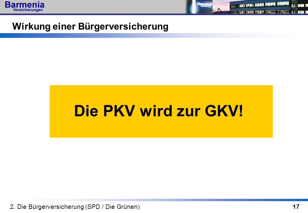 17 Wirkung einer Bürgerversicherung Die PKV wird zur GKV! 2. Die Bürgerversicherung (SPD / Die Grünen)