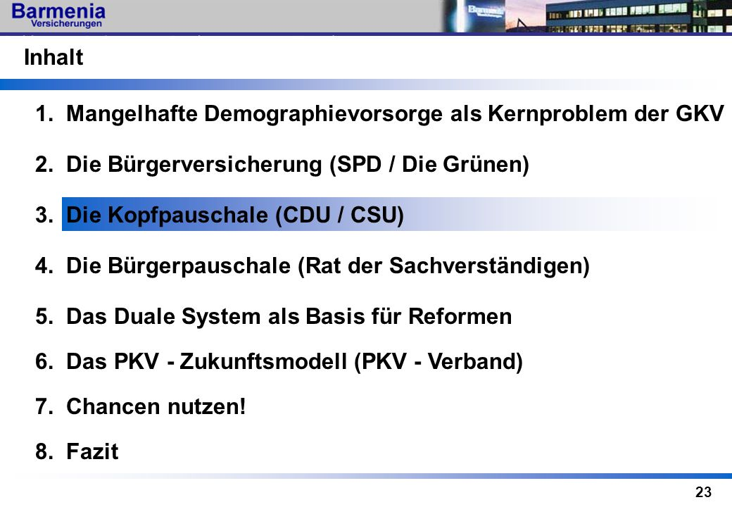 23 3. Die Kopfpauschale (CDU / CSU) 6. Das PKV - Zukunftsmodell (PKV - Verband) Inhalt 2. Die Bürgerversicherung (SPD / Die Grünen) 1. Mangelhafte Dem