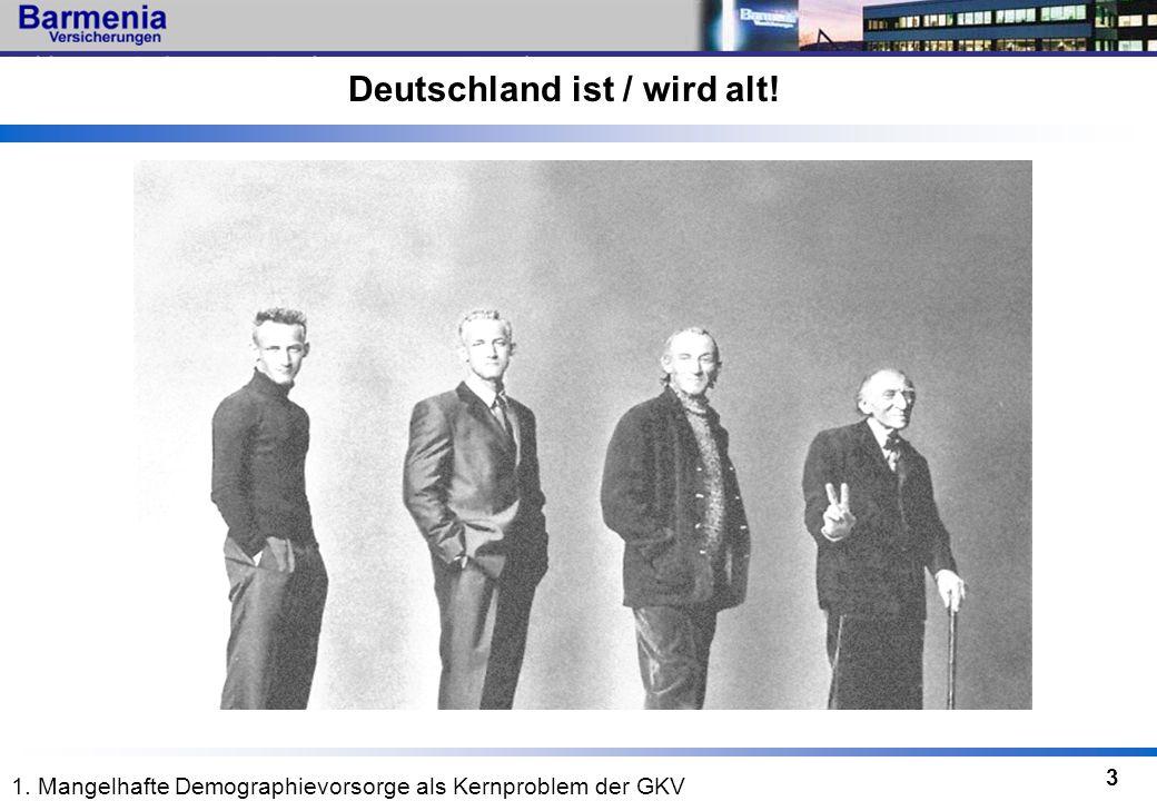 3 Deutschland ist / wird alt! 1. Mangelhafte Demographievorsorge als Kernproblem der GKV