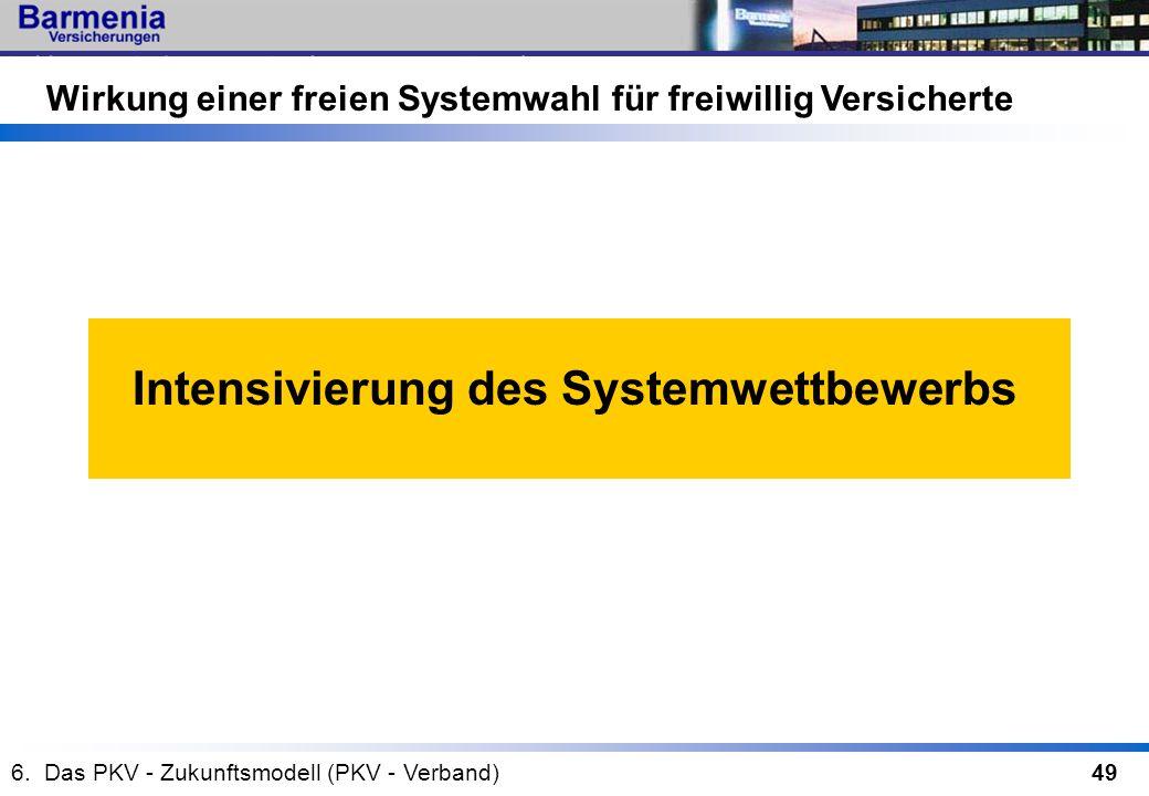 49 Wirkung einer freien Systemwahl für freiwillig Versicherte Intensivierung des Systemwettbewerbs 6. Das PKV - Zukunftsmodell (PKV - Verband)
