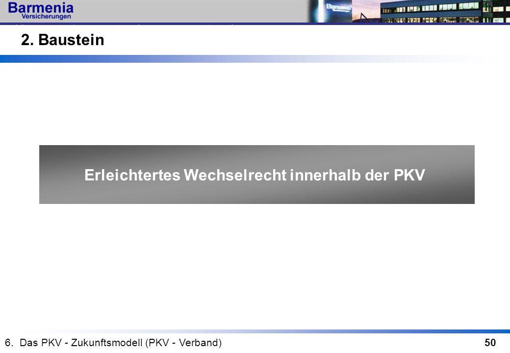 50 Erleichtertes Wechselrecht innerhalb der PKV 2. Baustein 6. Das PKV - Zukunftsmodell (PKV - Verband)