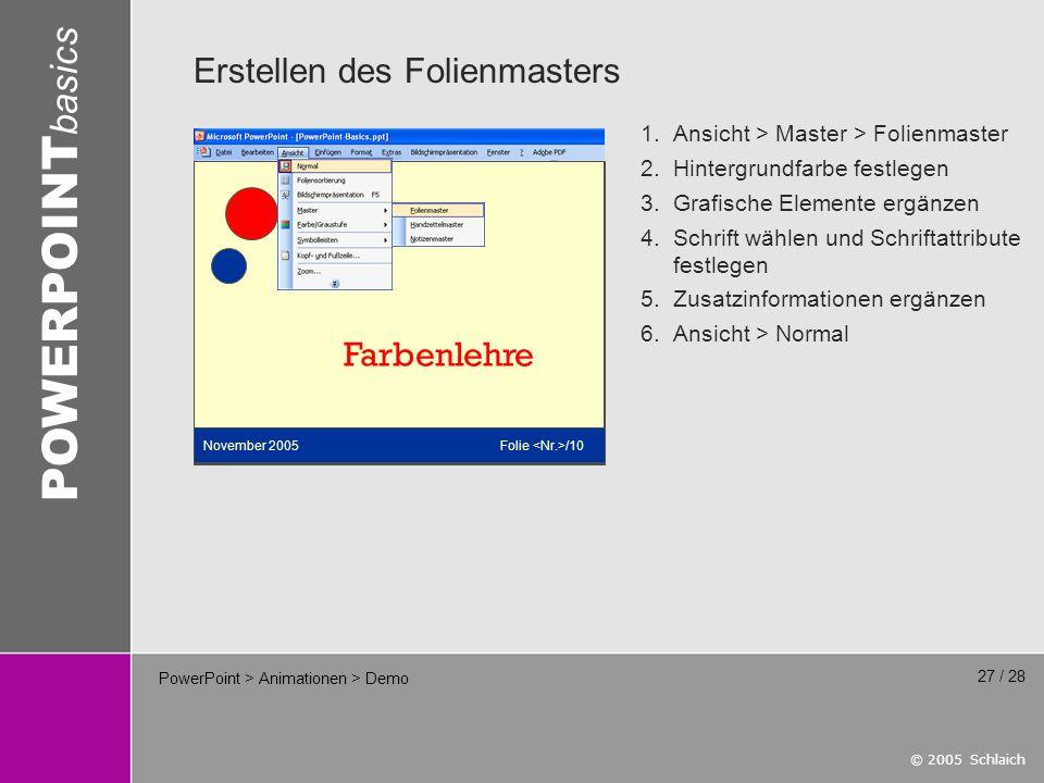 © 2005 Schlaich POWERPOINT basics 27 / 28 PowerPoint > Animationen > Demo Erstellen des Folienmasters Farbenlehre 2.