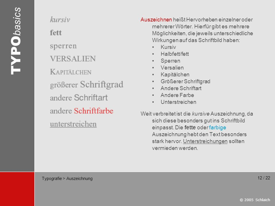 © 2005 Schlaich TYPO basics 12 / 22 Typografie > Auszeichnung Auszeichnen heißt Hervorheben einzelner oder mehrerer Wörter. Hierfür gibt es mehrere Mö