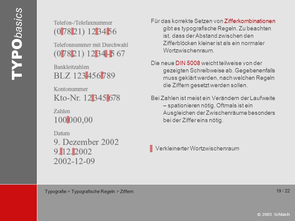 © 2005 Schlaich TYPO basics 19 / 22 Typografie > Typografische Regeln > Ziffern Für das korrekte Setzen von Zifferkombinationen gibt es typografische