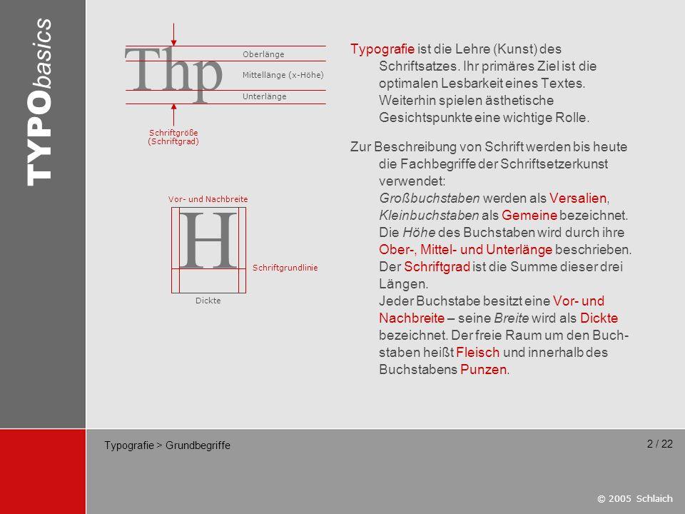 © 2005 Schlaich TYPO basics 13 / 22 Typografie > Schriftklassifizierung Die DIN 16518-1998 liegt im Entwurf vor und teilt Schriften in (nur noch) fünf Gruppen ein: Gruppe 1: Gebrochene Schriften z.B.