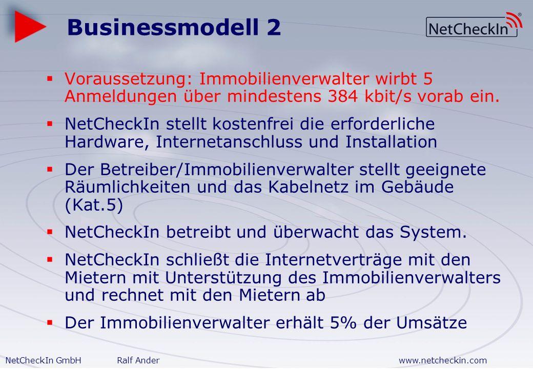 NetCheckIn GmbHRalf Anderwww.netcheckin.com Businessmodell 1 Betreiber/Gewerbepark erwirbt erforderliche Hardware und ggf. Installation von NetCheckIn