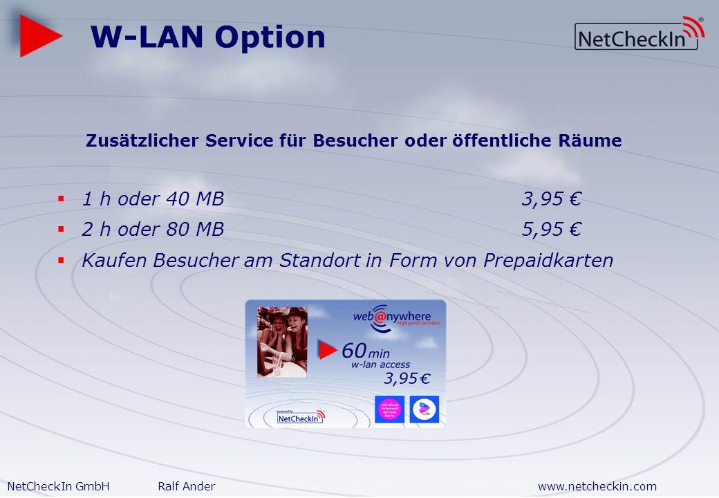NetCheckIn GmbHRalf Anderwww.netcheckin.com Beispielrechnung 20 Mieter benötigen Internetanschluss: 1x 1024 Mbit/s 5x 512 kBit/s 10x 384 kBit/s 4x 64