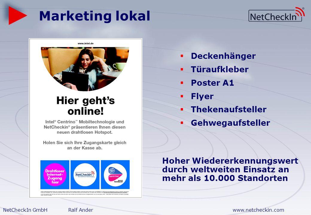 NetCheckIn GmbHRalf Anderwww.netcheckin.com W-LAN Option Zusätzlicher Service für Besucher oder öffentliche Räume 1 h oder 40 MB3,95 2 h oder 80 MB5,9