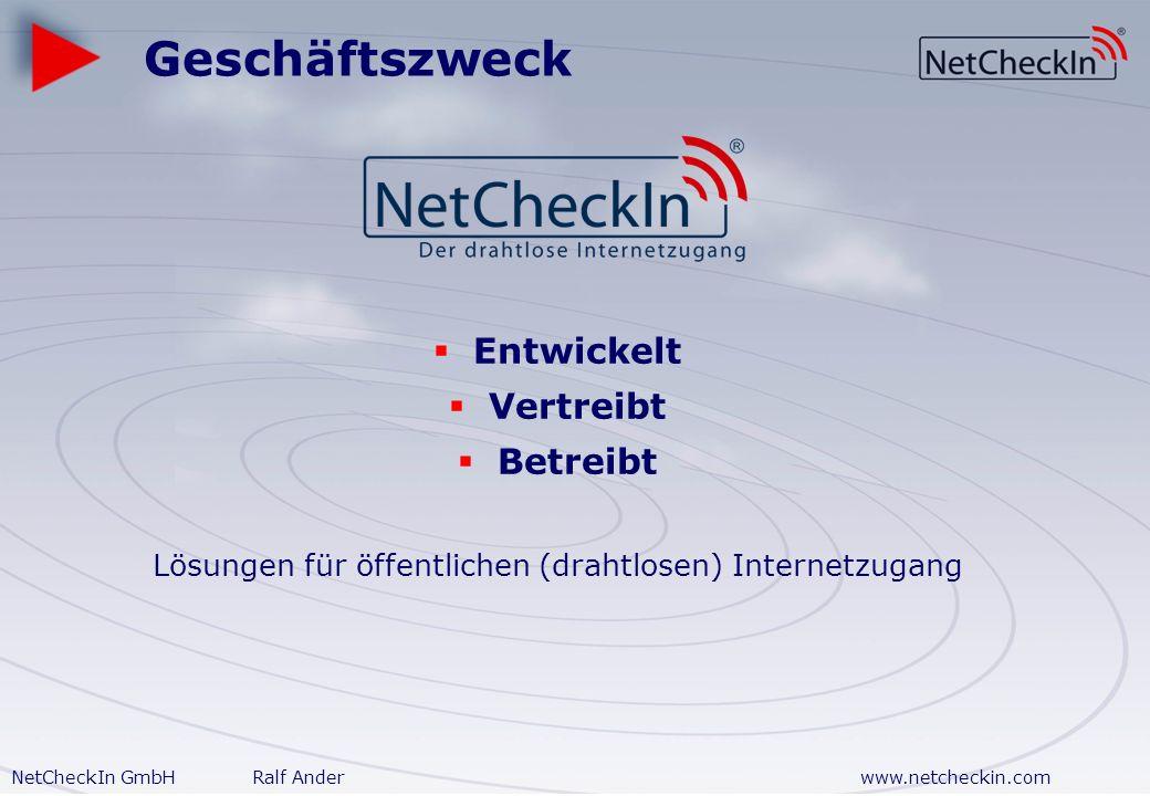 NetCheckIn GmbHRalf Anderwww.netcheckin.com Wireless Internet Services für Gewerbeobjekte