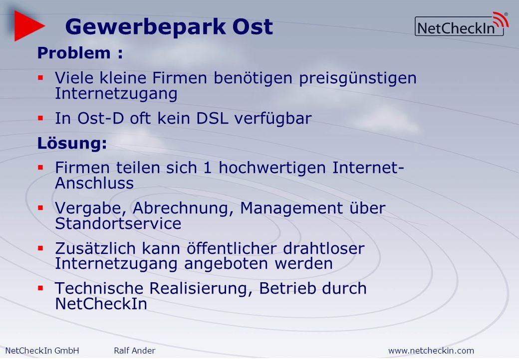 NetCheckIn GmbHRalf Anderwww.netcheckin.com Anwendungsvarianten Gewerbepark Büroservice Shopping Mall