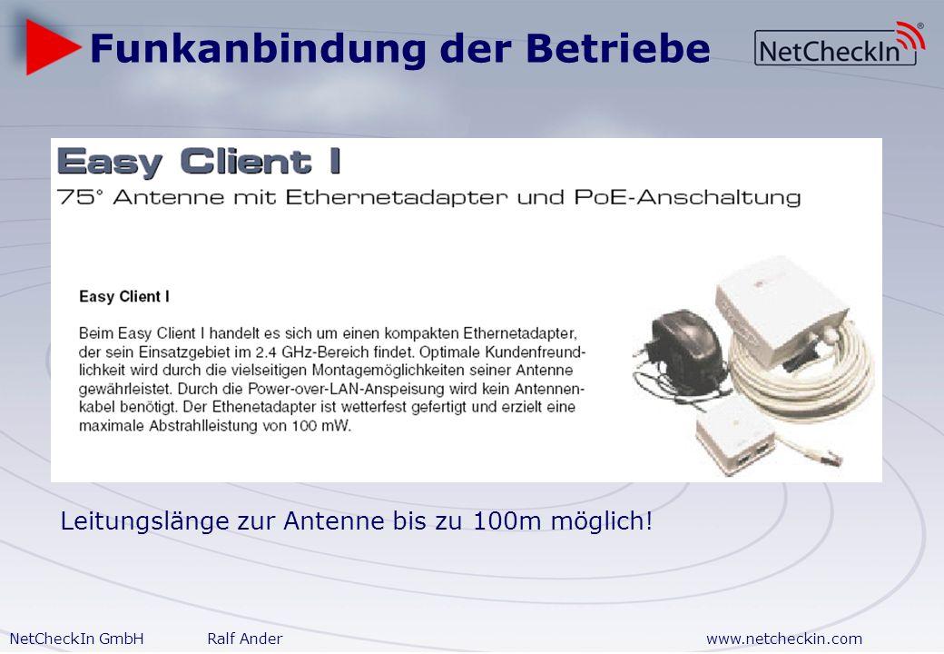 NetCheckIn GmbHRalf Anderwww.netcheckin.com Externe Kunden Gewerbepark Versorgung umliegender Betriebe über Funk – bei freier Sicht bis zu 600 m