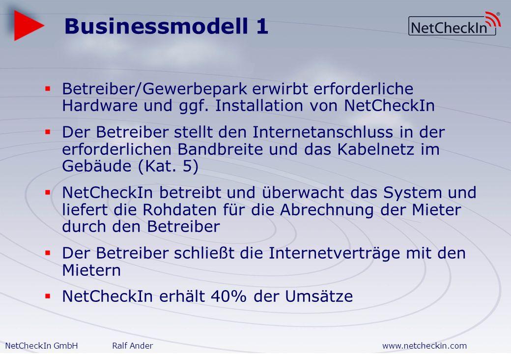 NetCheckIn GmbHRalf Anderwww.netcheckin.com Funkanbindung der Betriebe Schlüsselfertige Lösungen für Gewerbeobjekte Rollout und laufender Betrieb Part