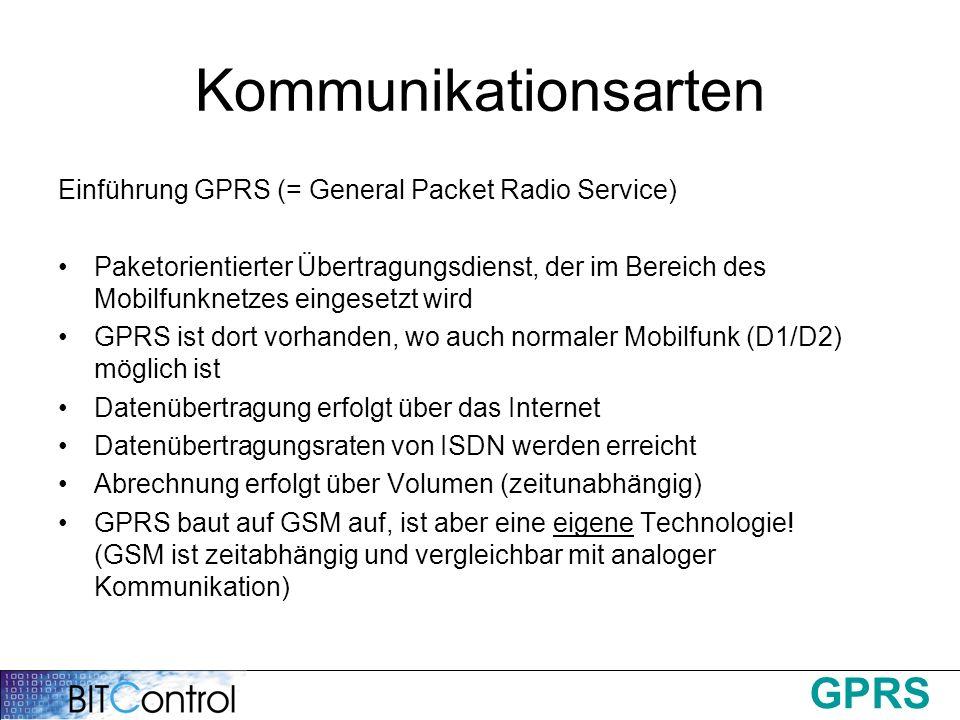 GPRS Kommunikationsarten Einführung GPRS (= General Packet Radio Service) Paketorientierter Übertragungsdienst, der im Bereich des Mobilfunknetzes ein