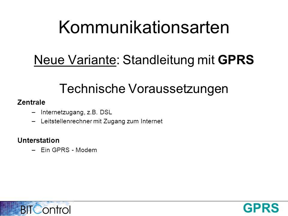 GPRS Kommunikationsarten Neue Variante: Standleitung mit GPRS Technische Voraussetzungen Zentrale –Internetzugang, z.B. DSL –Leitstellenrechner mit Zu