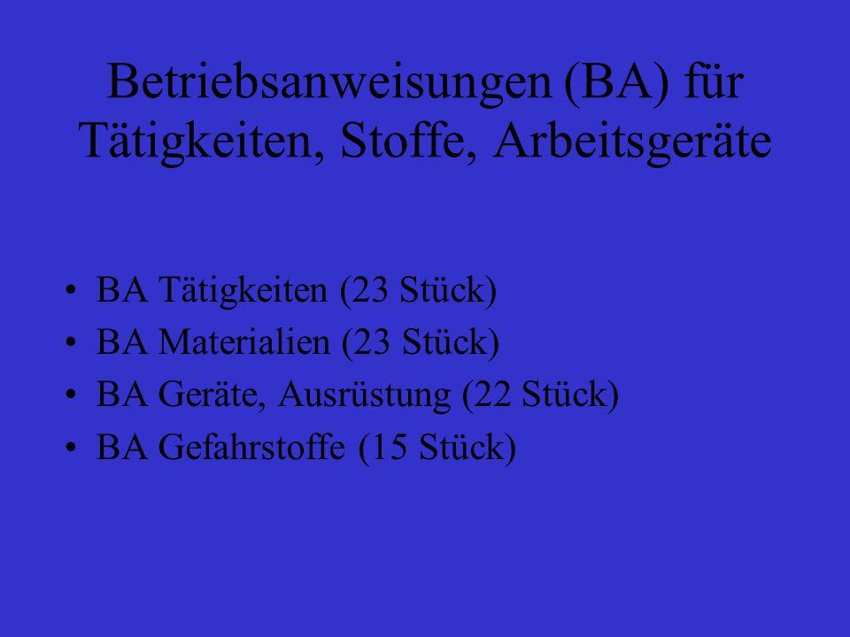Betriebsanweisungen (BA) für Tätigkeiten, Stoffe, Arbeitsgeräte BA Tätigkeiten (23 Stück) BA Materialien (23 Stück) BA Geräte, Ausrüstung (22 Stück) B