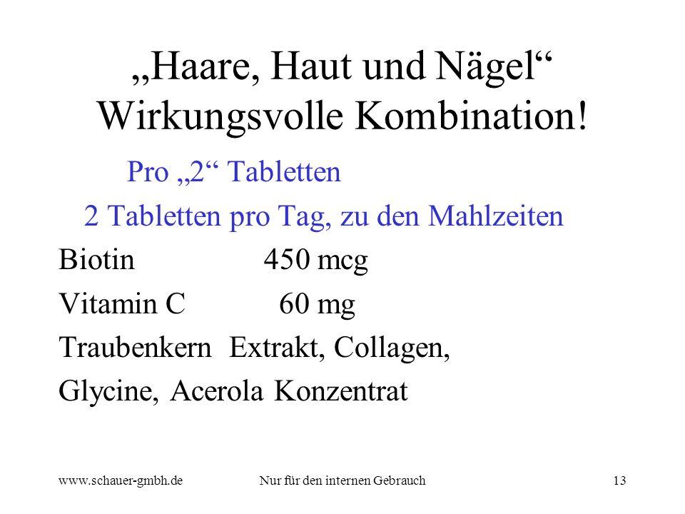 www.schauer-gmbh.deNur für den internen Gebrauch13 Haare, Haut und Nägel Wirkungsvolle Kombination.