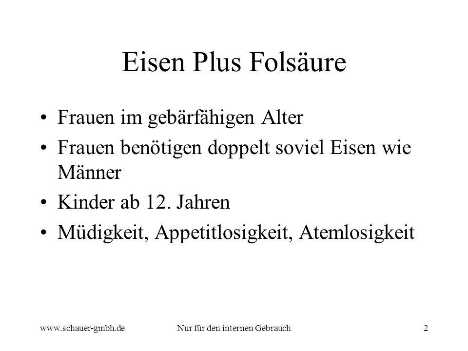 www.schauer-gmbh.deNur für den internen Gebrauch2 Eisen Plus Folsäure Frauen im gebärfähigen Alter Frauen benötigen doppelt soviel Eisen wie Männer Kinder ab 12.