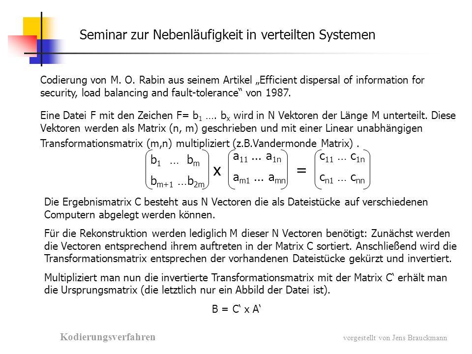 Seminar zur Nebenläufigkeit in verteilten Systemen Kodierungsverfahren vorgestellt von Jens Brauckmann Codierung von M.