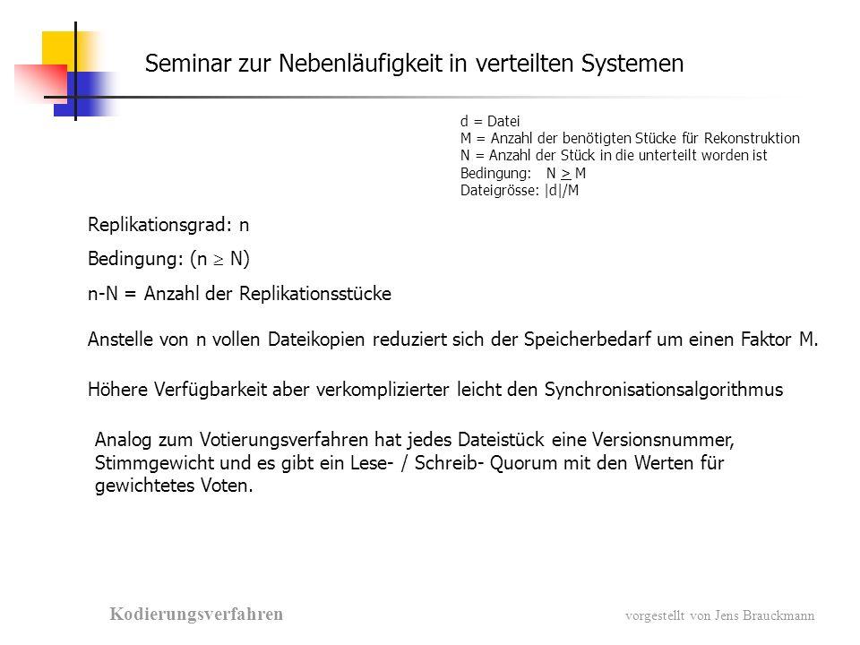 Seminar zur Nebenläufigkeit in verteilten Systemen Kodierungsverfahren vorgestellt von Jens Brauckmann d = Datei M = Anzahl der benötigten Stücke für Rekonstruktion N = Anzahl der Stück in die unterteilt worden ist Bedingung:N > M Dateigrösse: |d|/M Replikationsgrad: n Bedingung: (n N) n-N = Anzahl der Replikationsstücke Anstelle von n vollen Dateikopien reduziert sich der Speicherbedarf um einen Faktor M.