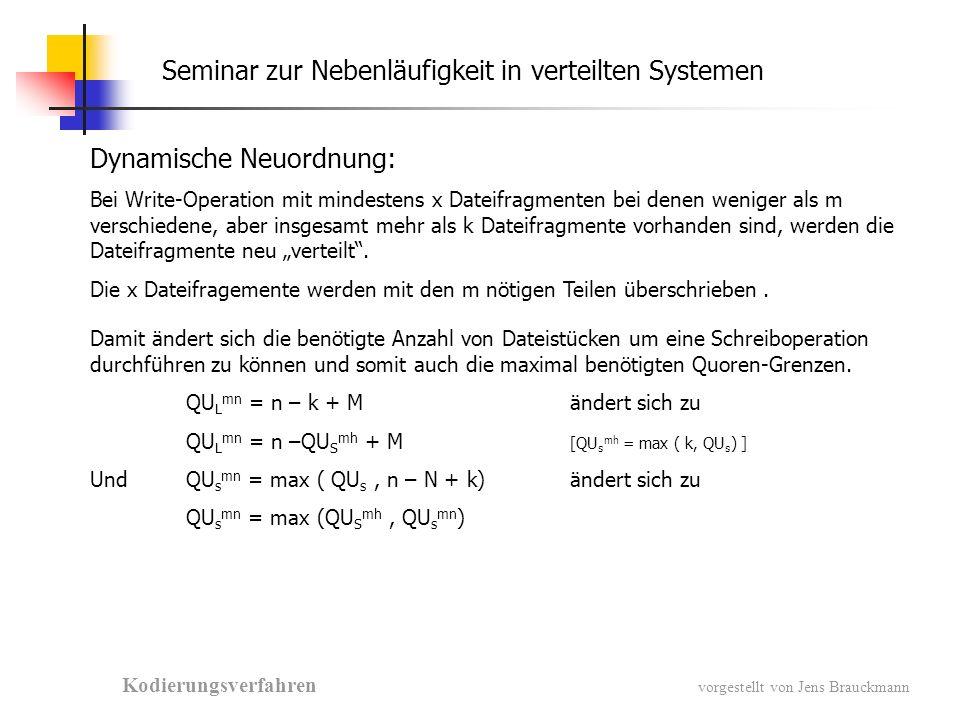 Seminar zur Nebenläufigkeit in verteilten Systemen Kodierungsverfahren vorgestellt von Jens Brauckmann Verfügbarkeit: p = Wahrscheinlichkeit mit der Dateifragment erreichbar ist Warscheinlichkeit für eine Quorum- erreichung
