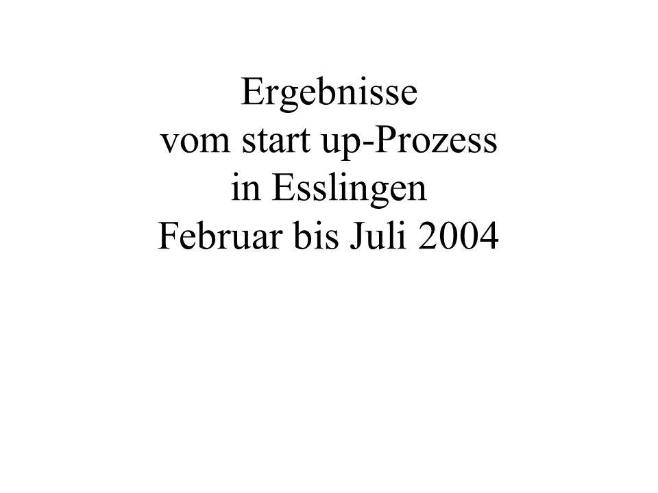 Ergebnisse vom start up-Prozess in Esslingen Februar bis Juli 2004