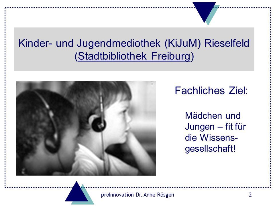 proInnovation Dr. Anne Rösgen2 Kinder- und Jugendmediothek (KiJuM) Rieselfeld (Stadtbibliothek Freiburg)Stadtbibliothek Freiburg Fachliches Ziel: Mädc