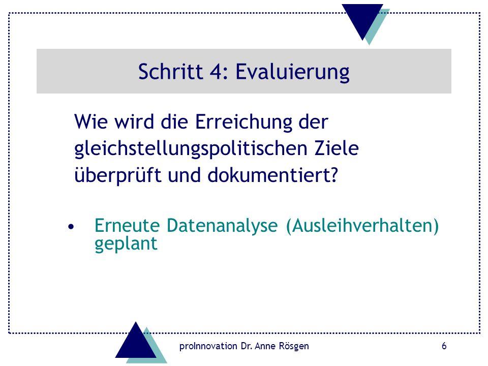 proInnovation Dr. Anne Rösgen6 Schritt 4: Evaluierung Wie wird die Erreichung der gleichstellungspolitischen Ziele überprüft und dokumentiert? Erneute