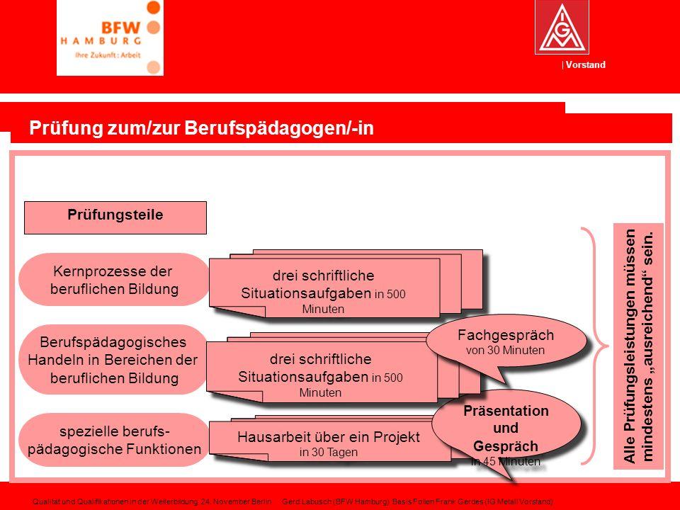 Vorstand Prüfung zum/zur Berufspädagogen/-in Prüfungsteile Berufspädagogisches Handeln in Bereichen der beruflichen Bildung Kernprozesse der beruflich