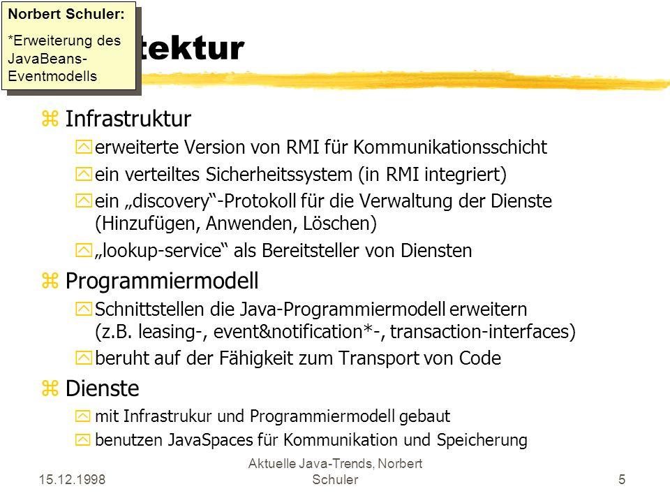 15.12.1998 Aktuelle Java-Trends, Norbert Schuler5 Architektur zInfrastruktur yerweiterte Version von RMI für Kommunikationsschicht yein verteiltes Sicherheitssystem (in RMI integriert) yein discovery-Protokoll für die Verwaltung der Dienste (Hinzufügen, Anwenden, Löschen) ylookup-service als Bereitsteller von Diensten zProgrammiermodell ySchnittstellen die Java-Programmiermodell erweitern (z.B.