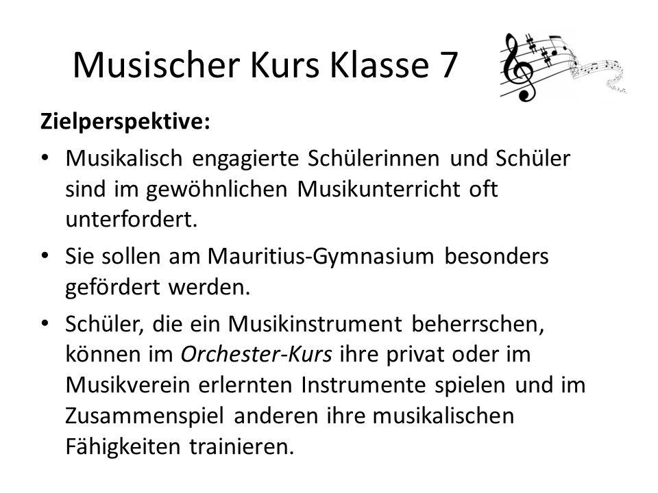 Zielperspektive: Musikalisch engagierte Schülerinnen und Schüler sind im gewöhnlichen Musikunterricht oft unterfordert. Sie sollen am Mauritius-Gymnas