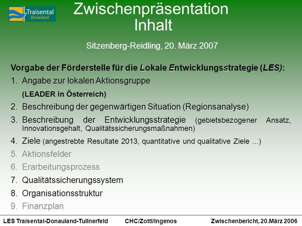 LES Traisental-Donauland-Tullnerfeld Zwischenbericht, 20.März 2006 CHC/Zottl/Ingenos LEs Vorgabe der Förderstelle für die Lokale Entwicklungsstrategie