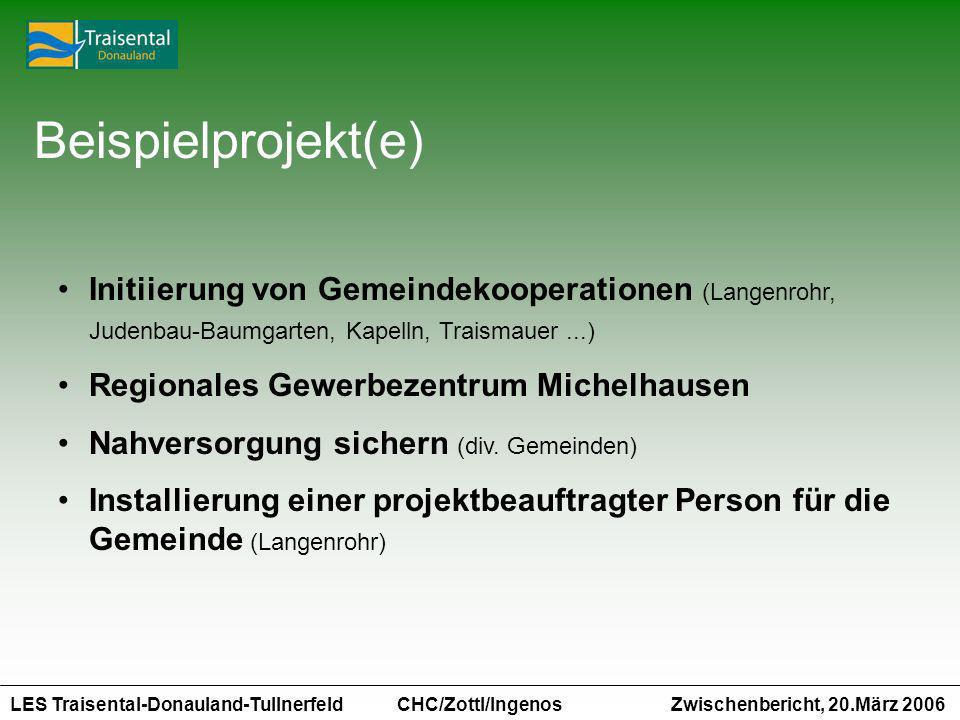 LES Traisental-Donauland-Tullnerfeld Zwischenbericht, 20.März 2006 CHC/Zottl/Ingenos Beispielprojekt(e) Initiierung von Gemeindekooperationen (Langenr
