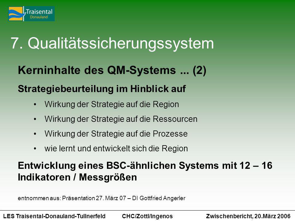 LES Traisental-Donauland-Tullnerfeld Zwischenbericht, 20.März 2006 CHC/Zottl/Ingenos 7. Qualitätssicherungssystem Kerninhalte des QM-Systems... (2) St