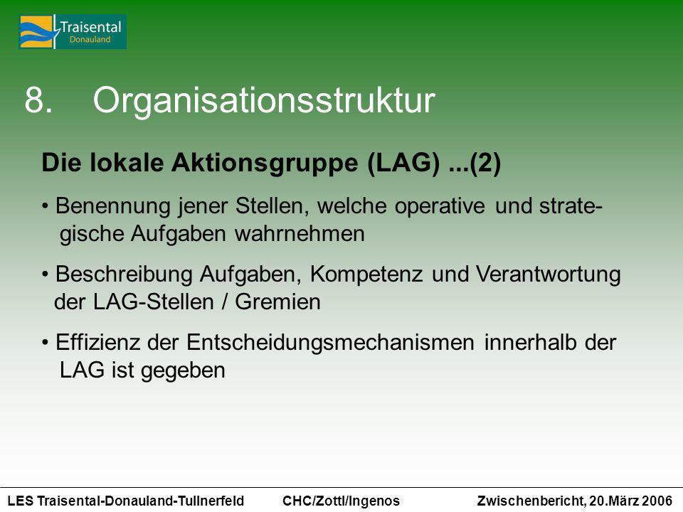 LES Traisental-Donauland-Tullnerfeld Zwischenbericht, 20.März 2006 CHC/Zottl/Ingenos 8.Organisationsstruktur Die lokale Aktionsgruppe (LAG)...(2) Bene