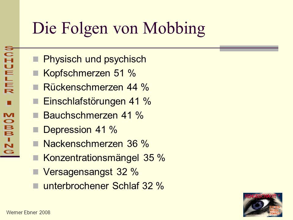 Die Folgen von Mobbing Physisch und psychisch Kopfschmerzen 51 % Rückenschmerzen 44 % Einschlafstörungen 41 % Bauchschmerzen 41 % Depression 41 % Nack