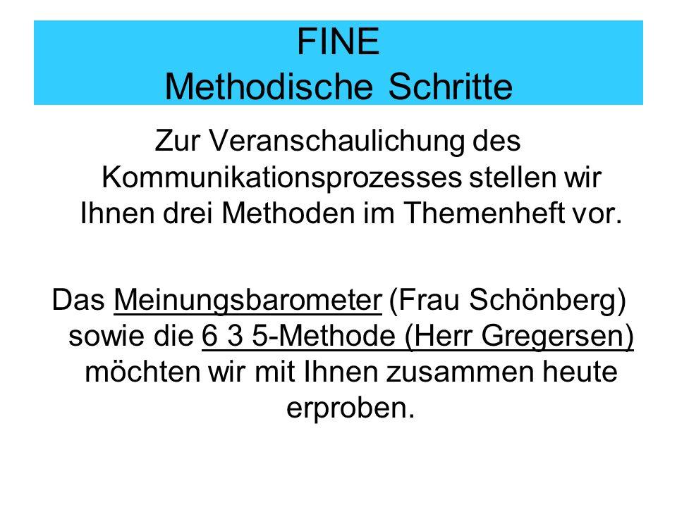 FINE Methodische Schritte Zur Veranschaulichung des Kommunikationsprozesses stellen wir Ihnen drei Methoden im Themenheft vor. Das Meinungsbarometer (