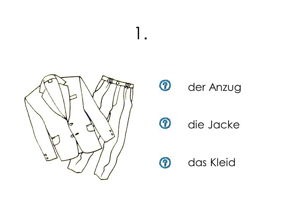 Kleider, Kleider, Kleider. Du übst selber alle Kleiderwörter. Von drei Antworten ist nur eine richtig. Beim richtigen Wort klickst du mit der Maus das